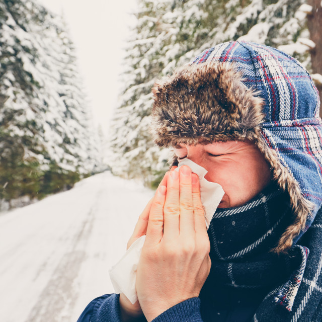 """""""Ill man in winter nature"""" stock image"""