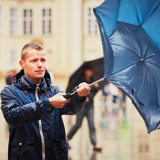 """Man in rainy day"" stock image"