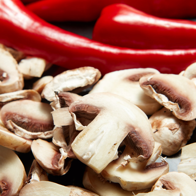 """fresh raw vegetables mushrooms and red paprika"" stock image"