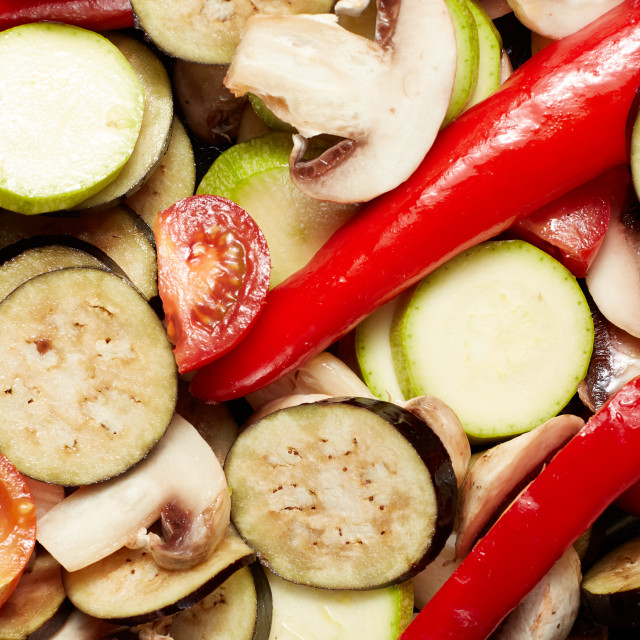 """fresh raw vegetables mushrooms and red paprika, eggplant, vegetable marrow,..."" stock image"