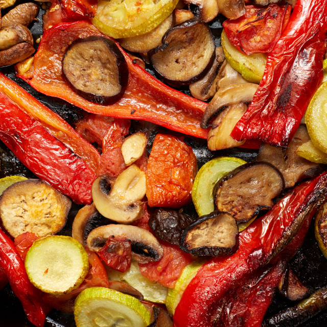 """baked or grilled vegetables mushrooms and red paprika, eggplant, vegetable..."" stock image"