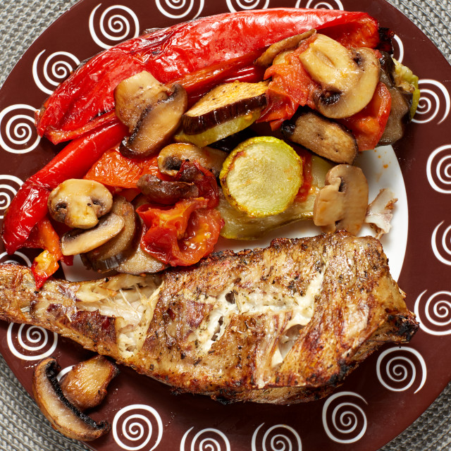 """grilled fish with baked vegetables"" stock image"