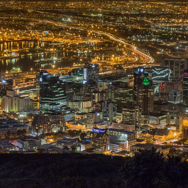 """""""Night view Cape Town City centre"""" stock image"""