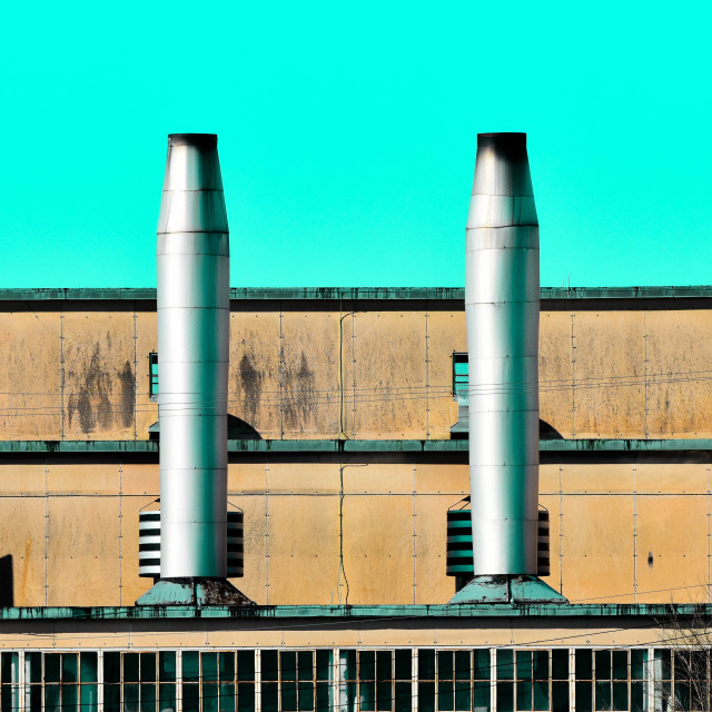 """Retro Smokestacks"" stock image"