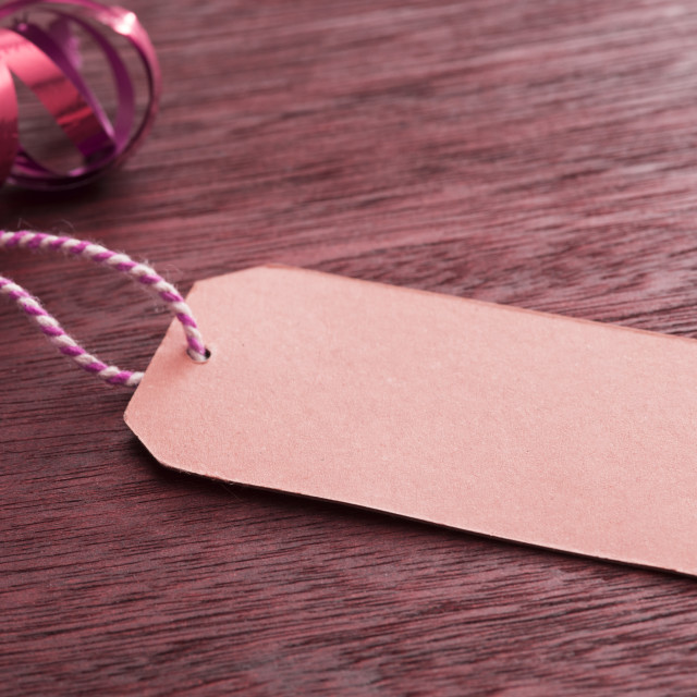 """Blank gift tag with Christmas packaging"" stock image"