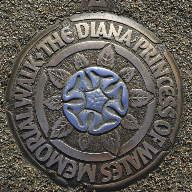 """Diana Princess of Wales memorial walk plaque, London City, England"" stock image"