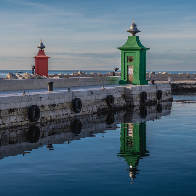 """Red and green lighthouse"" stock image"