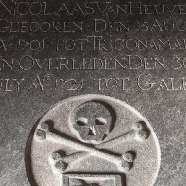 """Tombstone in Dutch Reformed Church, Galle Sri Lanka"" stock image"