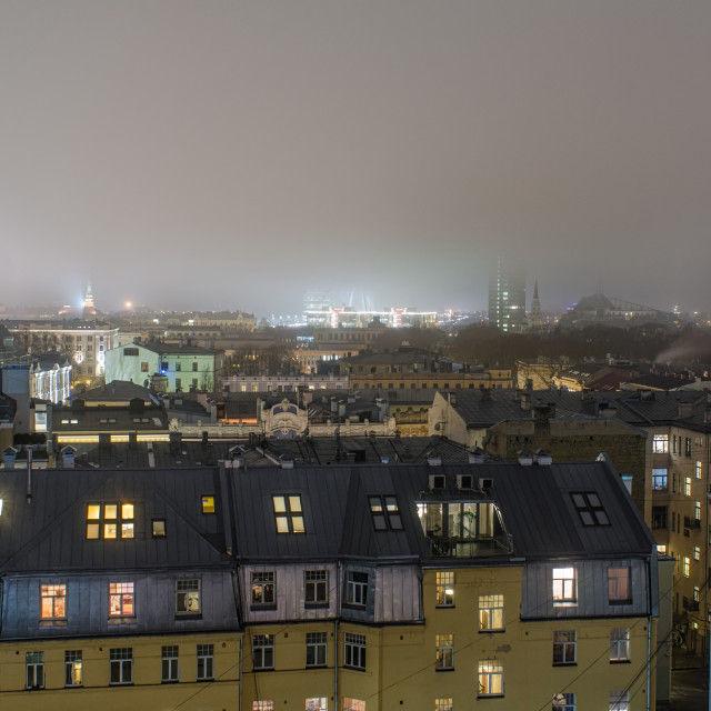 """""""Fog Over The Rooftops Of Riga"""" stock image"""