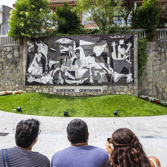 """""""Picasso's Guernica on Calle Allende Salazar street"""" stock image"""