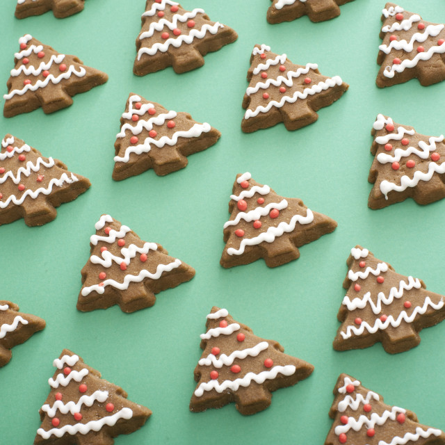 """Background of gingerbread Christmas cookies"" stock image"