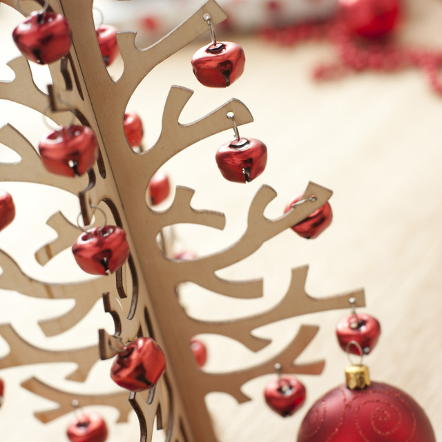"""Christmas tree decorated with red garland"" stock image"