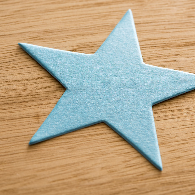 """Blue green Christmas paper star"" stock image"