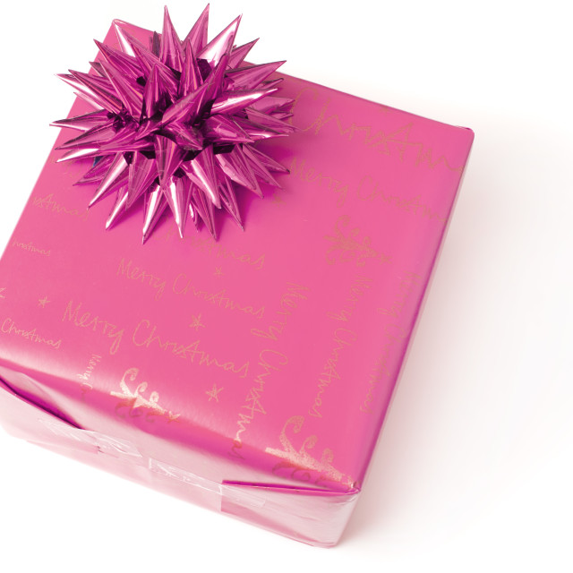 """Feminine pink gift with bow for a girl"" stock image"