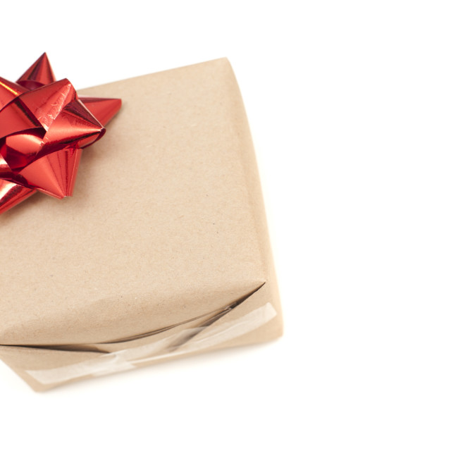 """Plain simple isolated Christmas gift with bow"" stock image"