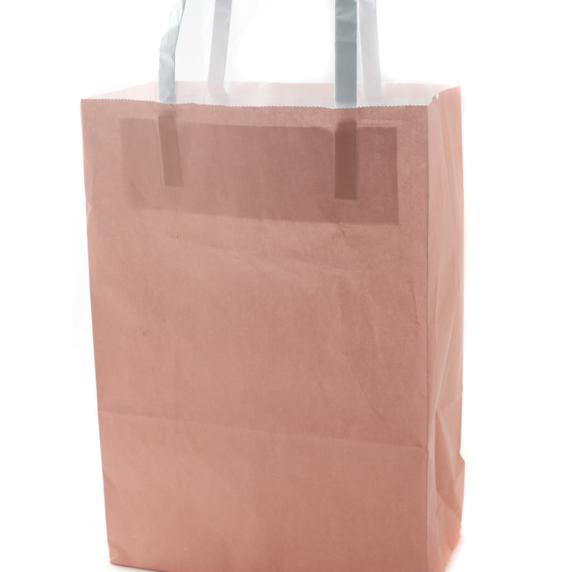 """Brown paper gift or carrier bag"" stock image"