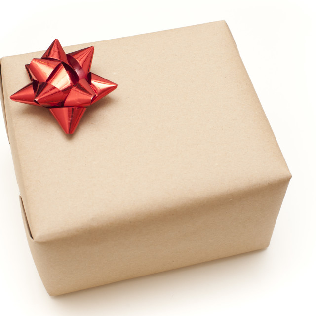 """Plain brown paper wrapped gift box"" stock image"