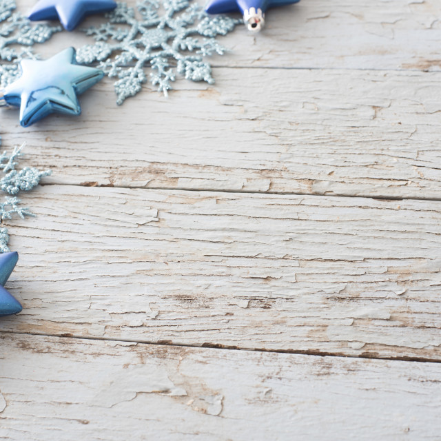 """Rustic Christmas corner decoration on wood"" stock image"