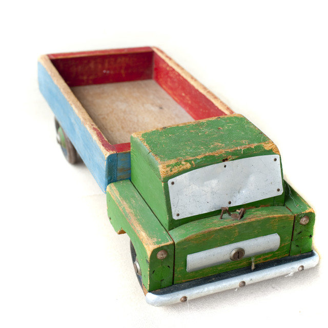 """Old battered rustic wooden toy truck"" stock image"