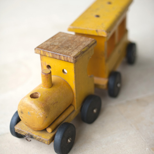 """Toy wooden train"" stock image"