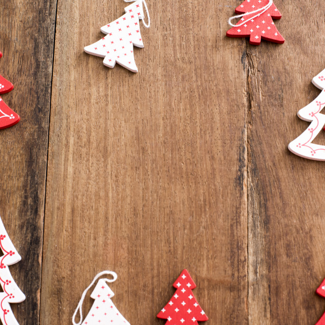"""Wooden Christmas tree decoration frame"" stock image"