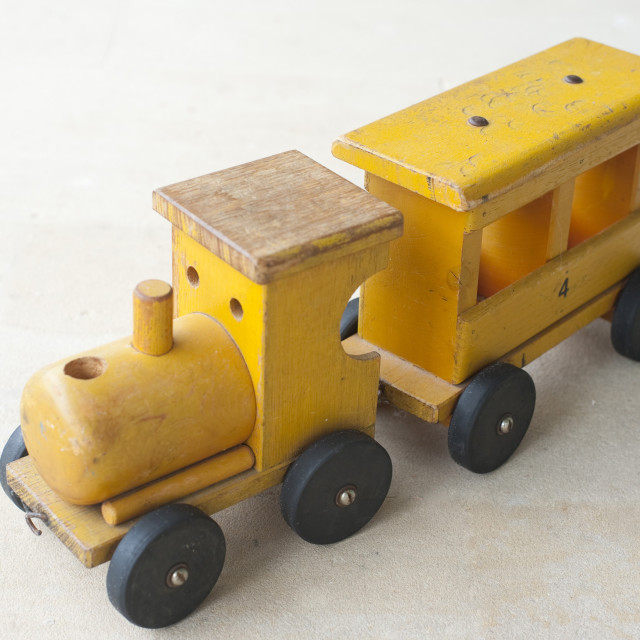 """Wooden toy train"" stock image"