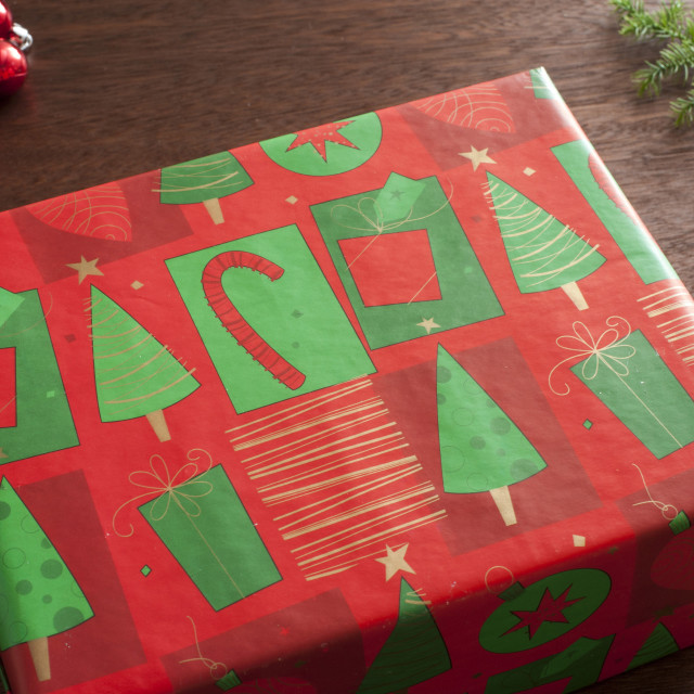 """Beautifully wrapped Christmas present"" stock image"
