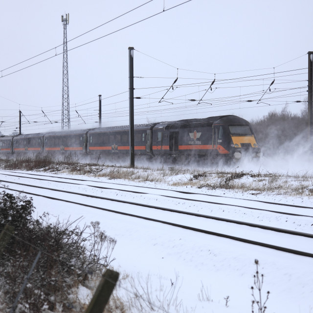 """Winter Snow Grand Central 43484 High Speed Diesel Train East Coast Main Line..."" stock image"