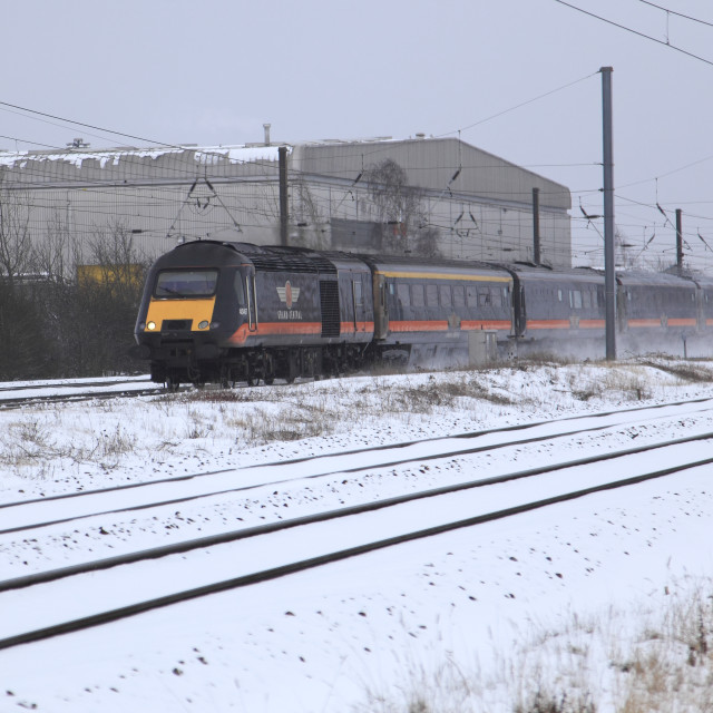 """Winter Snow Grand Central 43467 High Speed Diesel Train East Coast Main Line..."" stock image"