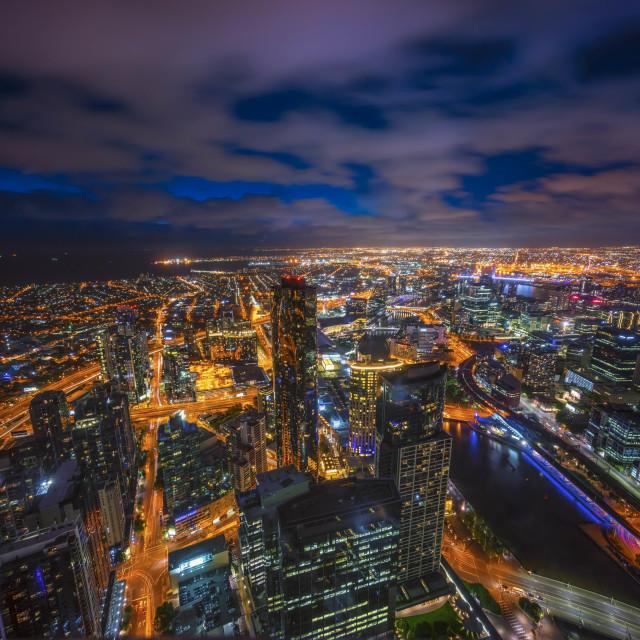 """Night scene at Melbourne city skyline."" stock image"