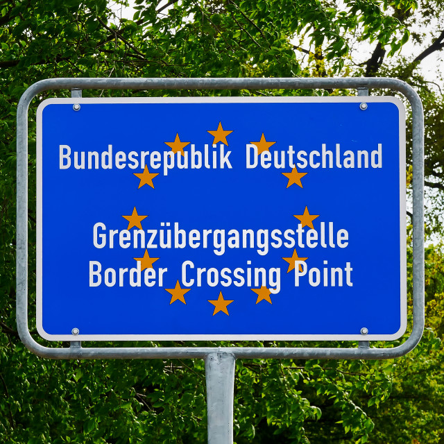 """""""Border Crossing Point to Germany, EU"""" stock image"""