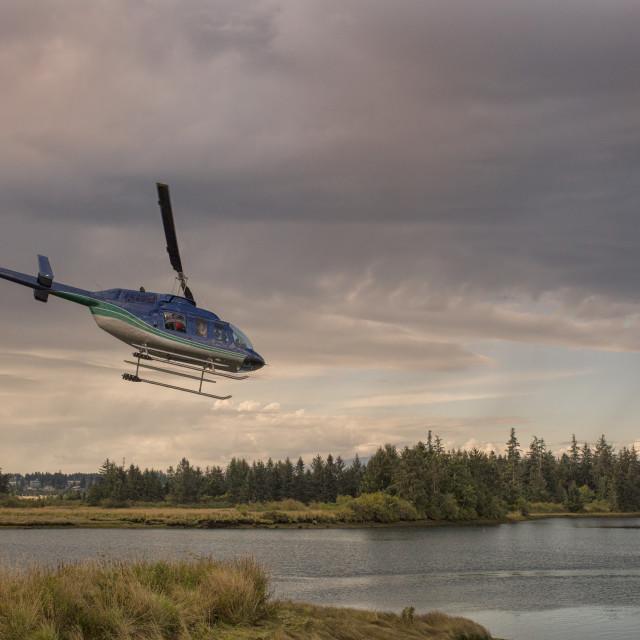 """""""Water plane departing at sunset"""" stock image"""