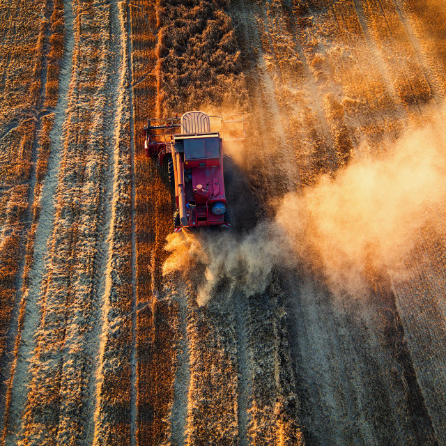 """Aerial view of Combine harvester agriculture machine harvesting"" stock image"