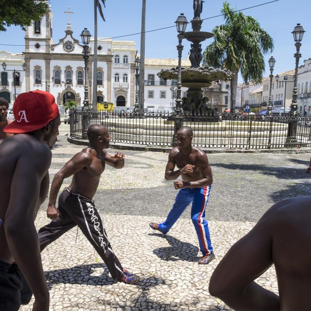 """""""Capoeira performance at Salvador Brazil"""" stock image"""