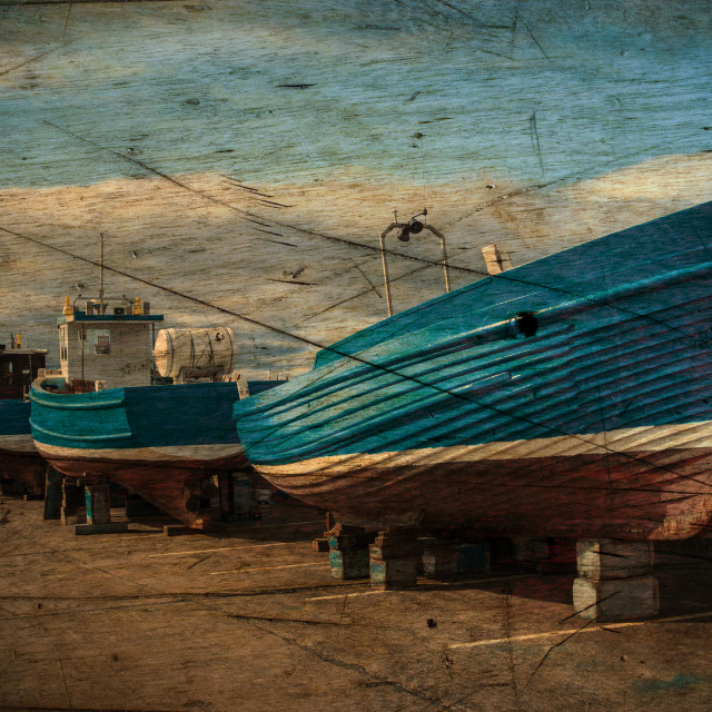 """Seahouses Boats hauled out for Winter."" stock image"