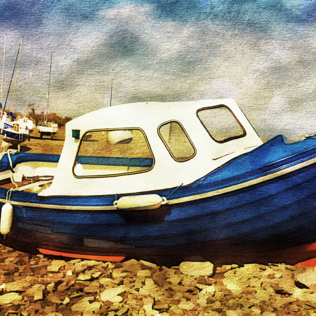 """Blue and Red Boat Watercolour effect."" stock image"