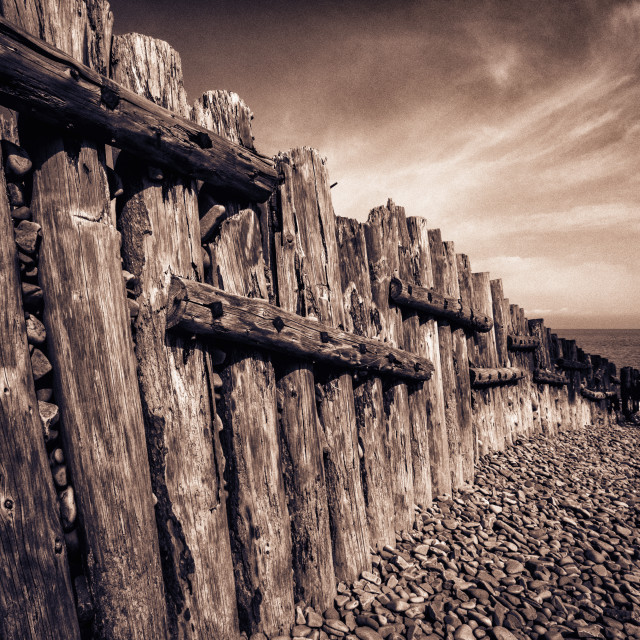"""The Groynes at Porlock Weir in Sepia Tones."" stock image"