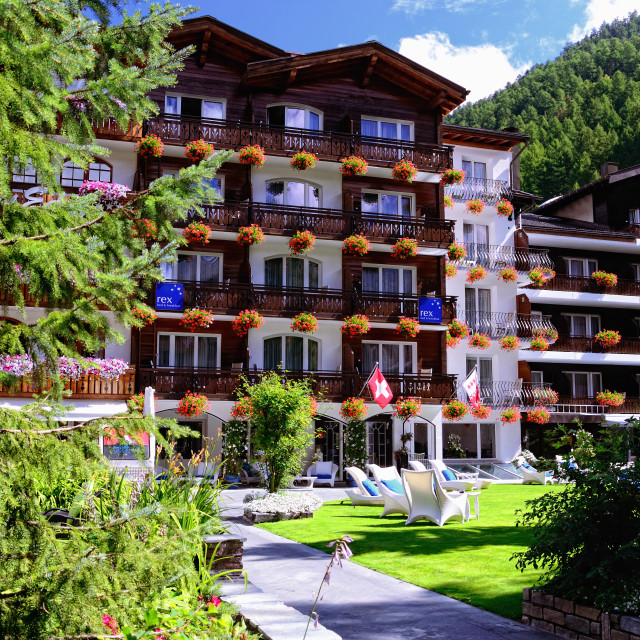 """Hotel Rex (4-star) in Zermatt, Switzerland"" stock image"