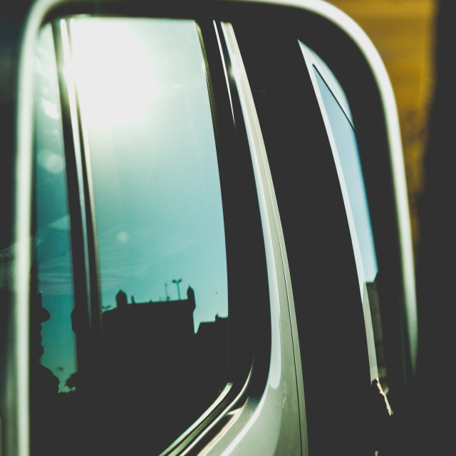 """Exterior rearview mirror in car"" stock image"