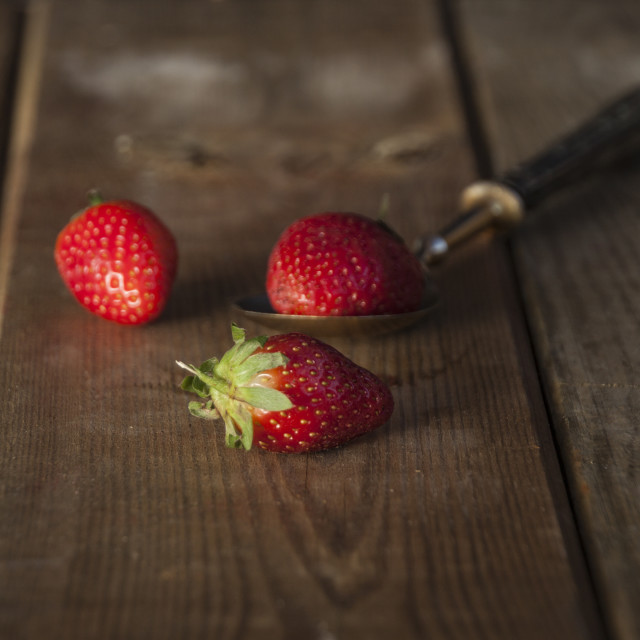 """Strawberries On Wood"" stock image"