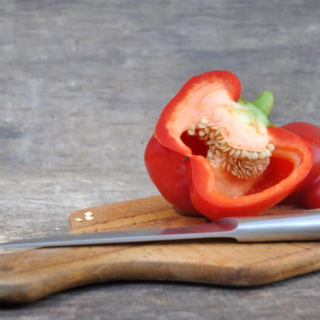 """pepper cut in half"" stock image"