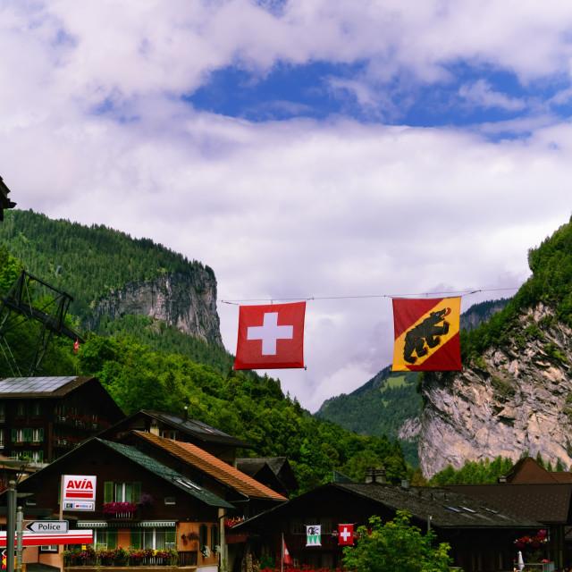 """""""Lauterbrunnen - Swiss Mountain Resort (Jungfrau Region)"""" stock image"""