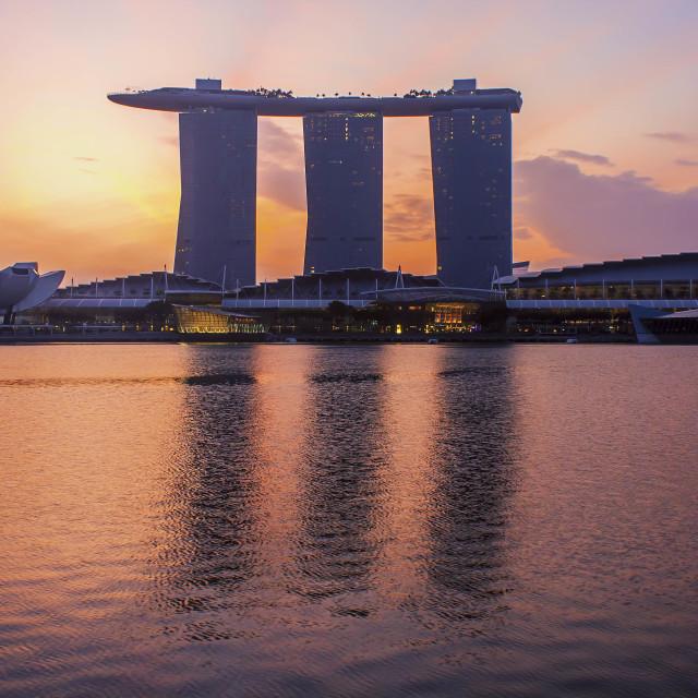 """""""Singapore landmark city skyline at the Marina bay during sunrise"""" stock image"""