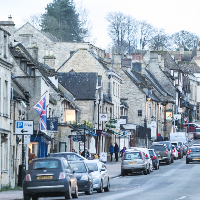 """""""Looking up the hill in Burford"""" stock image"""