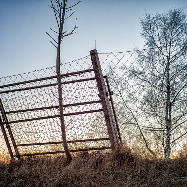 """Leaning fence"" stock image"