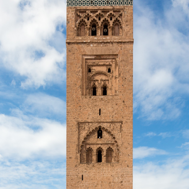 """Koutoubia minaret made from golden bricks in centrum of medina"" stock image"