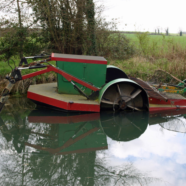 """Basingstoke canal weedcutting boat"" stock image"