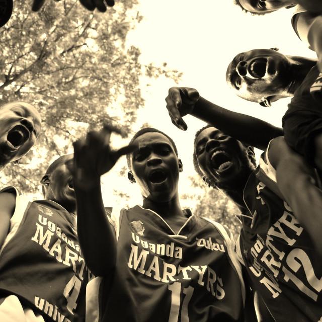 """UMU Basketball team Pregame excitement"" stock image"