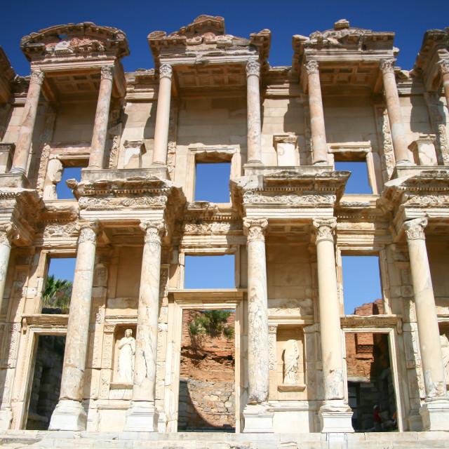 """Facade of ancient Celsius Library in Ephesus, Turkey"" stock image"