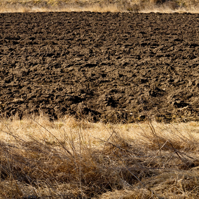"""Ploughed soil in agricultural field arable land"" stock image"